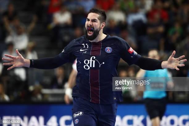Nikola Karabatic of Paris celebrates a goal during the VELUX EHF FINAL4 final between Paris SaintGermain Handball and HC Vardar at Lanxess Arena on...