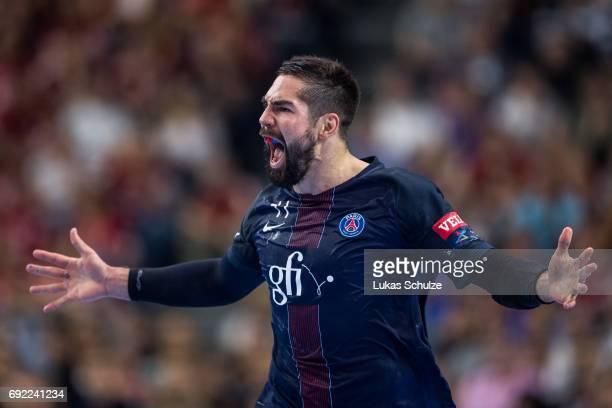 Nikola Karabatic of Paris celebrates during the VELUX EHF FINAL4 Final match between Paris SaintGermain Handball and HC Vardar at Lanxess Arena on...