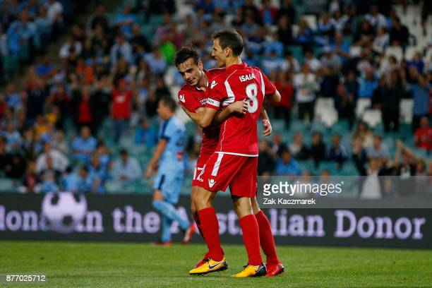 Nikola Mileusnic of Adelaide celebrates scoring a goal during the FFA Cup Final match between Sydney FC and Adelaide United at Allianz Stadium on...