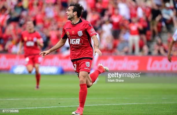 Nikola Mileusnic of Adelaide scores the first goal and celebrates during the round six ALeague match between Adelaide United and the Newcastle Jets...