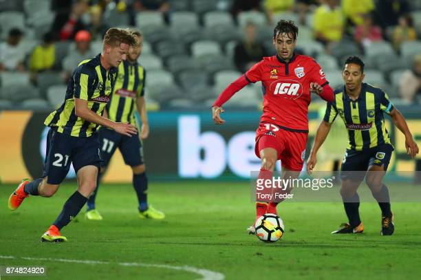 Nikola Mileusnic of Adelaide United controls the ball during the round seven ALeague match between the Central Coast Mariners and Adelaide United at...