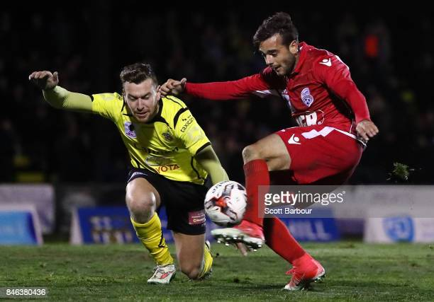 Nikola Mileusnic of Adelaide United has a shot on goal during the FFA Cup Quarter Final match between Heidelberg United FC and Adelaide United at...