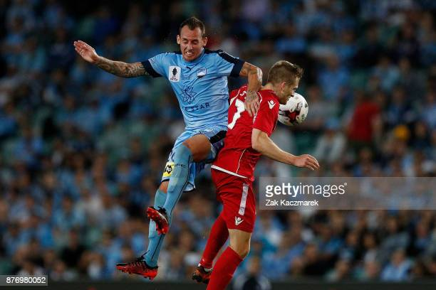 Nikola Mileusnic of Sydney FC contests with Nikola Mileusnic of Adelaide during the FFA Cup Final match between Sydney FC and Adelaide United at...