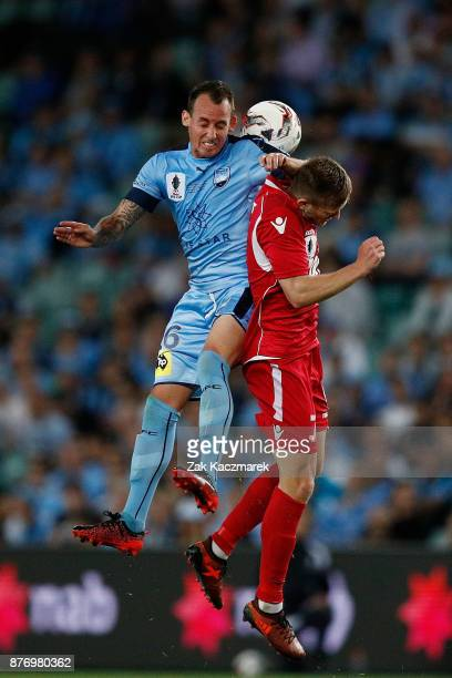 Nikola Mileusnic of Sydney FC contests with Ryan Kitto of Adelaide during the FFA Cup Final match between Sydney FC and Adelaide United at Allianz...