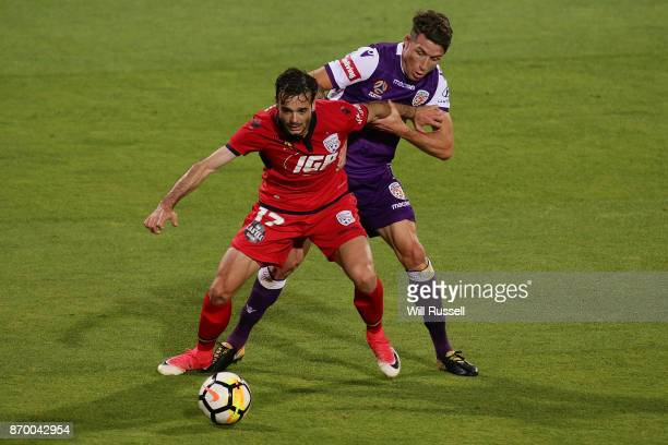 Nikola Mileusnic of the Reds controls the ball during the round five ALeague match between the Perth Glory and Adelaide United at nib Stadium on...