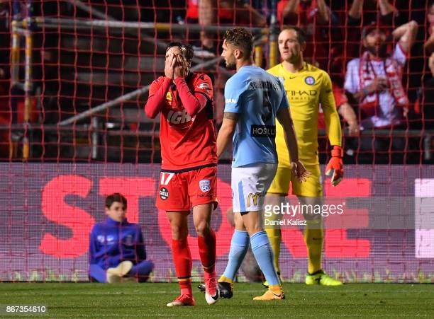 Nikola Mileusnic of United reacts after missing a scoring opportunity during the round four ALeague match between Adelaide United and Melbourne City...