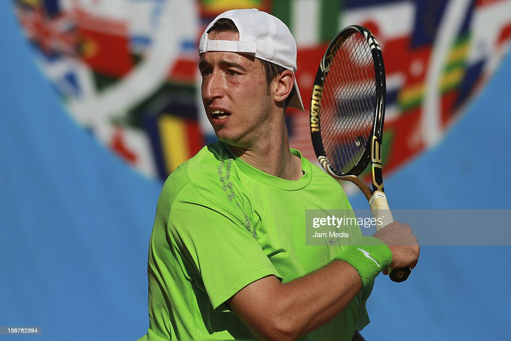 Nikola Milojevic of Serbia in action during the Mexican Youth Tennis Open at Deportivo Chapultepec on December 27, 2012 in Mexico City, Mexico.