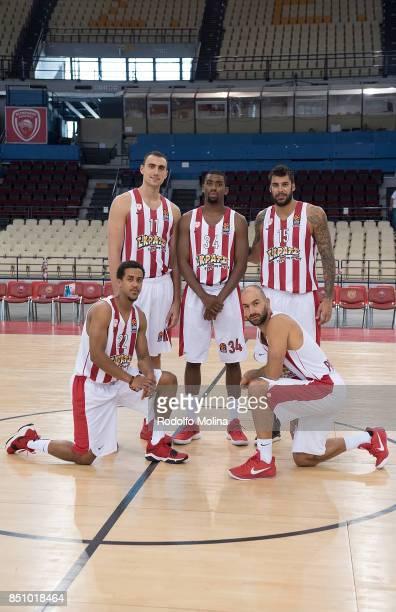 Nikola Milutinov #11 Hollis Thompson #34 Georgios Printezis #15 Brian Roberts #22 and Vassilis Spanoulis #7 poses during Olympiacos Piraeus 2016/2017...