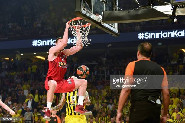 Nikola Milutinov #11 of Olympiacos Piraeus in action during the Championship Game 2017 Turkish Airlines EuroLeague Final Four between Fenerbahce...