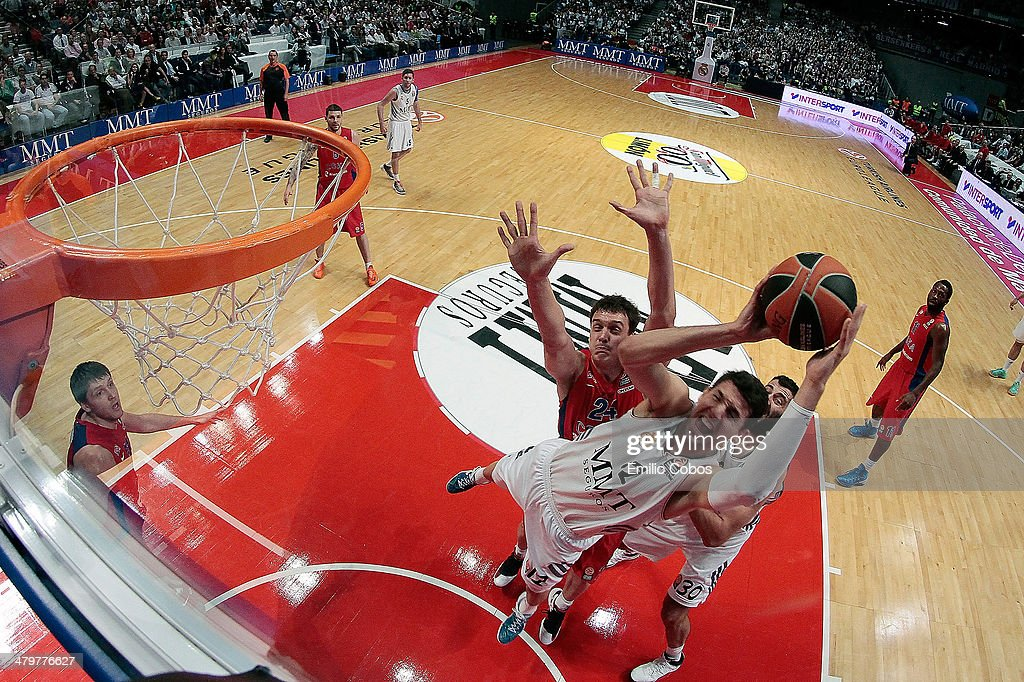 Nikola Mirotic, #12 of Real Madrid in action during the 2013-2014 Turkish Airlines Euroleague Top 16 Date 11 game between Real Madrid v CSKA Moscow at Palacio Deportes Comunidad de Madrid on March 20, 2014 in Madrid, Spain.