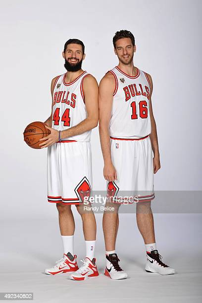 ¿Cuánto mide Pau Gasol? - Estatura y peso - Real height Nikola-mirotic-and-pau-gasol-of-the-chicago-bulls-poses-for-a-during-picture-id492340802?s=612x612