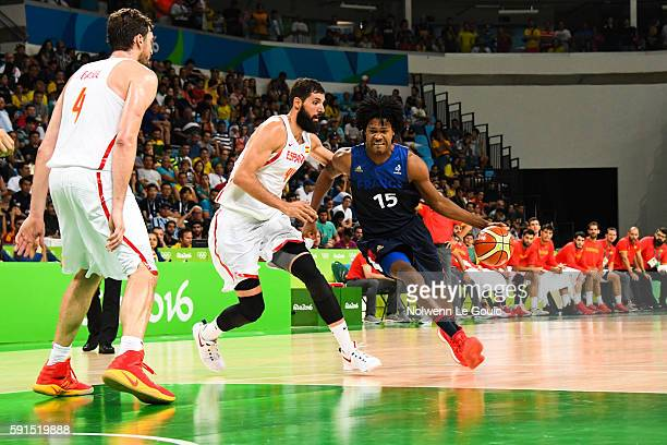 Nikola Mirotic of Spain and Mickael Gelabale of France during Basketball game betwenn France and Spain on Olympic Games 2016 in Rio at Carioca Arena...