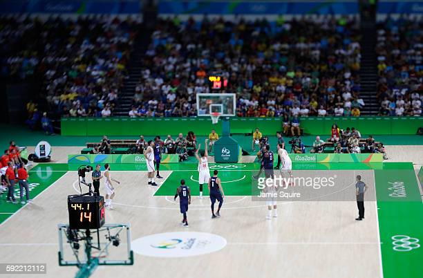 Nikola Mirotic of Spain shoots a free throw against the United States on Day 14 of the Rio 2016 Olympic Games at Carioca Arena 1 on August 19 2016 in...