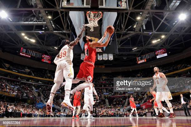 Nikola Mirotic of the Chicago Bulls goes to the basket against the Cleveland Cavaliers on October 10 2017 at Quicken Loans Arena in Cleveland Ohio...