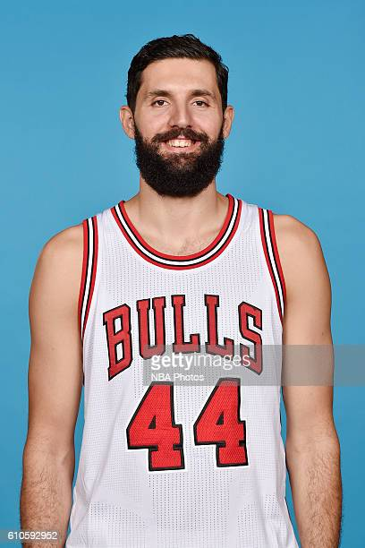 Nikola Mirotic of the Chicago Bulls poses for a head shot during the 20162017 Chicago Bulls Media Day on September 26 2016 at the Advocate Center in...