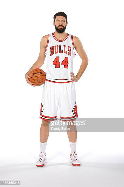 Nikola Mirotic of the Chicago Bulls poses for a picture as part of 201415 NBA Media Day at The Advocate Center on September 29 2014 in Chicago...