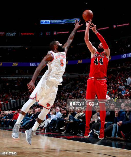 Nikola Mirotic of the Chicago Bulls shoots the ball against the New York Knicks on December 9 2017 at the United Center in Chicago Illinois NOTE TO...