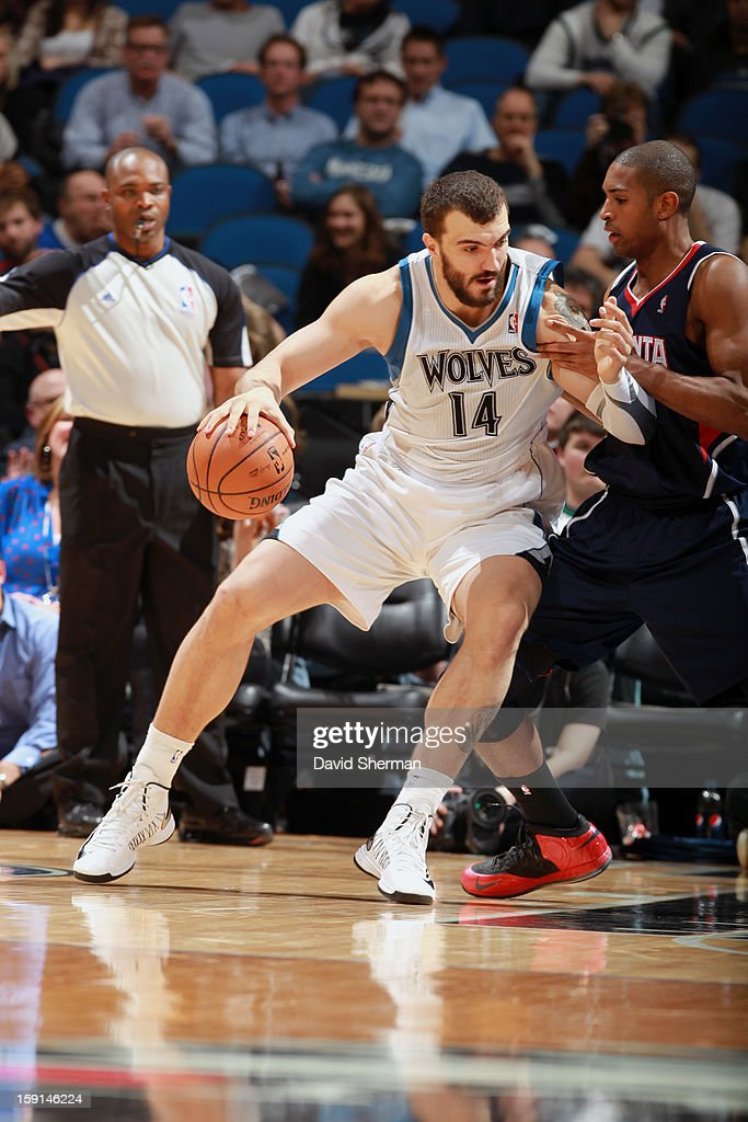 Nikola Pekovic 14# of the Minnesota Timberwolves backs up to the basket against the Atlanta Hawks during the game on January 8, 2013 at Target Center in Minneapolis, Minnesota.