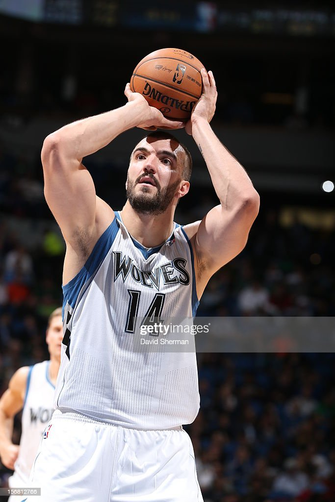 Nikola Pekovic #14 of the Minnesota Timberwolves aims for a free throw during the game between the Minnesota Timberwolves and the Denver Nuggets on November 21, 2012 at Target Center in Minneapolis, Minnesota.