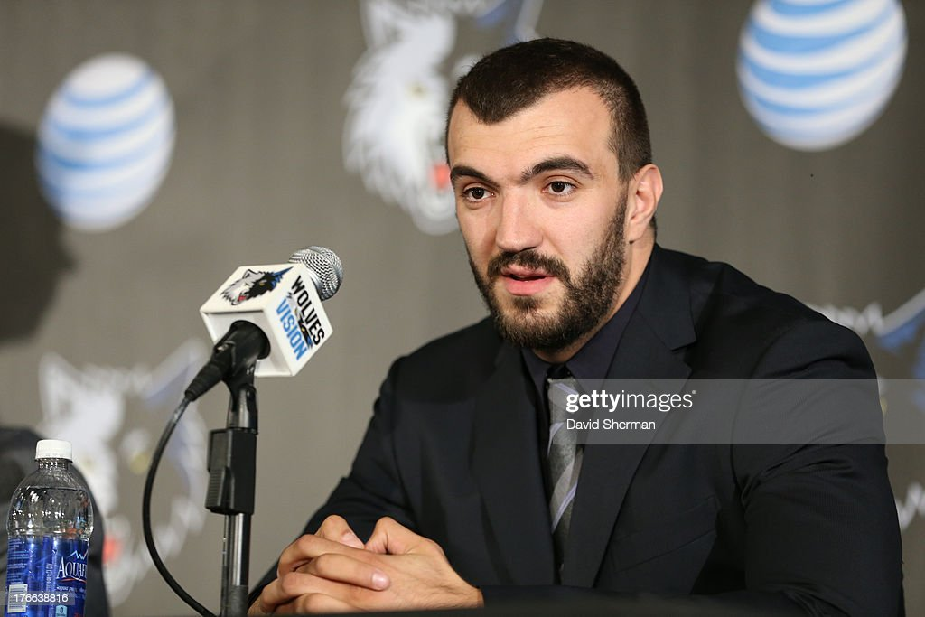 Nikola Pekovic of the Minnesota Timberwolves answers questions from the media during the press conference announcing his contract re-signing on August 16, 2013 at Target Center in Minneapolis, Minnesota.