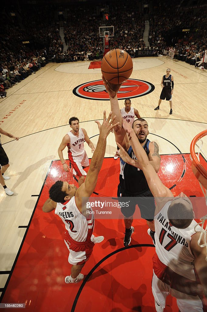 Nikola Pekovic #14 of the Minnesota Timberwolves attempts the shot vs the Toronto Raptors during the game on November 4, 2012 at the Air Canada Centre in Toronto, Ontario, Canada.