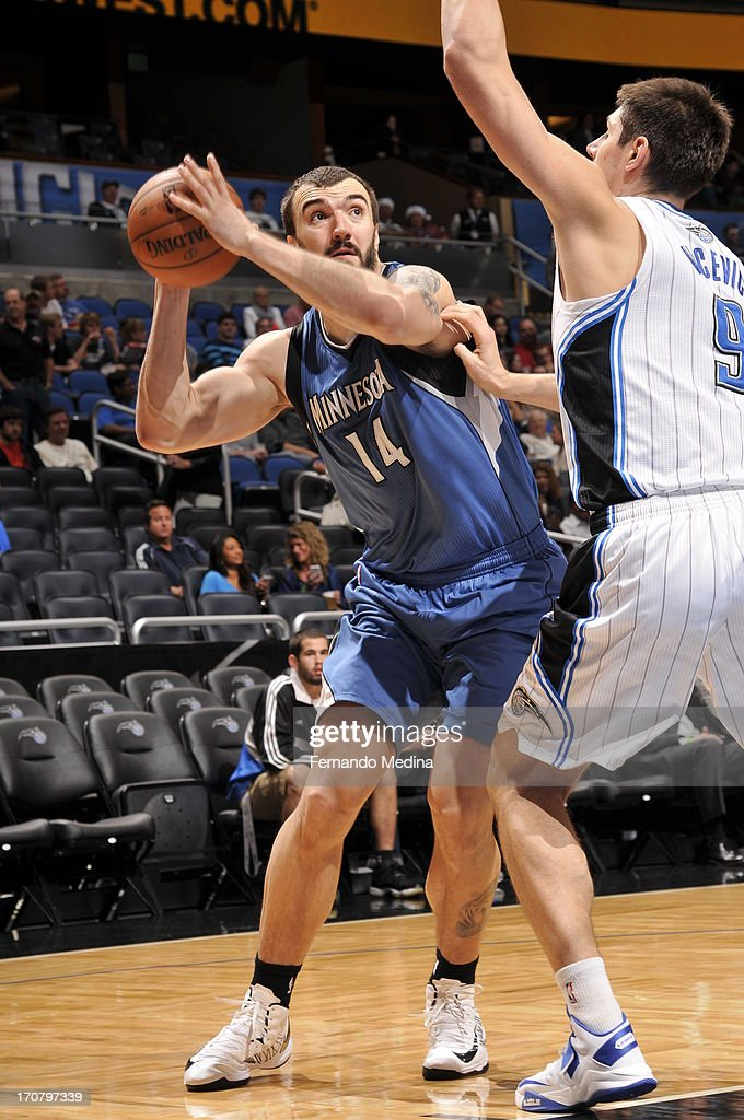 <a gi-track='captionPersonalityLinkClicked' href=/galleries/search?phrase=Nikola+Pekovic&family=editorial&specificpeople=829137 ng-click='$event.stopPropagation()'>Nikola Pekovic</a> #14 of the Minnesota Timberwolves attempts to shoot against Nikola Vucevic #9 of the Orlando Magic on December 17, 2012 at Amway Center in Orlando, Florida.