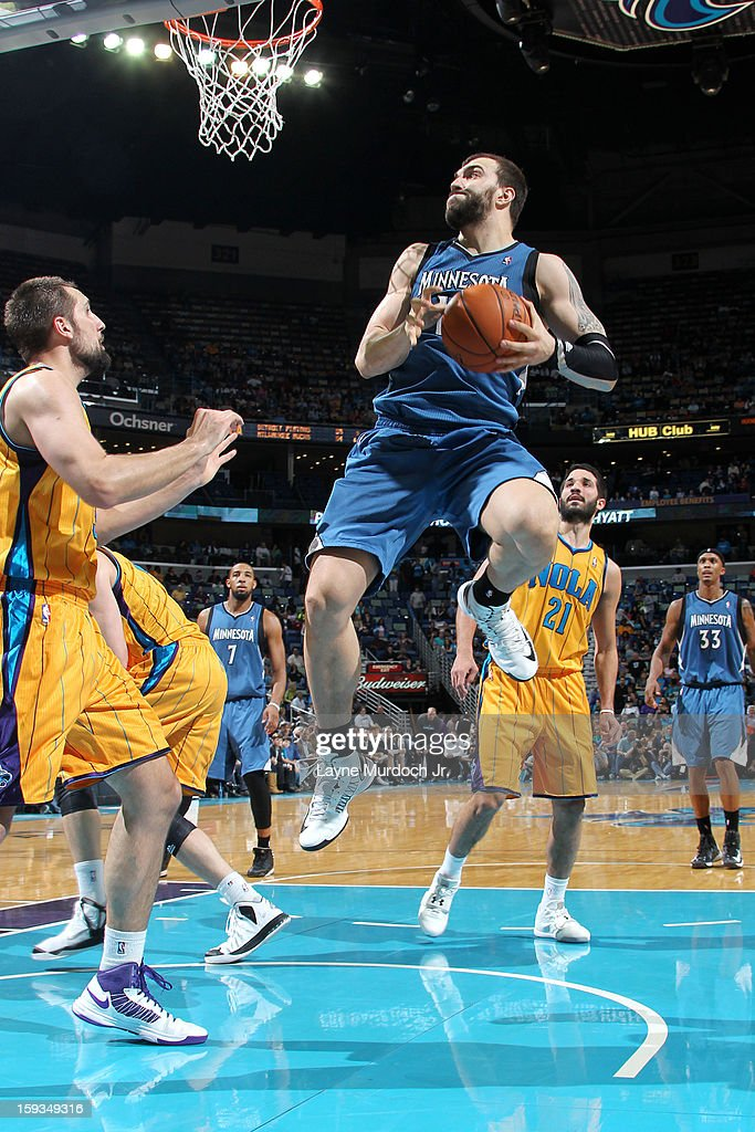 <a gi-track='captionPersonalityLinkClicked' href=/galleries/search?phrase=Nikola+Pekovic&family=editorial&specificpeople=829137 ng-click='$event.stopPropagation()'>Nikola Pekovic</a> #14 of the Minnesota Timberwolves drives to the basket against the New Orleans Hornets on January 11, 2013 at the New Orleans Arena in New Orleans, Louisiana.