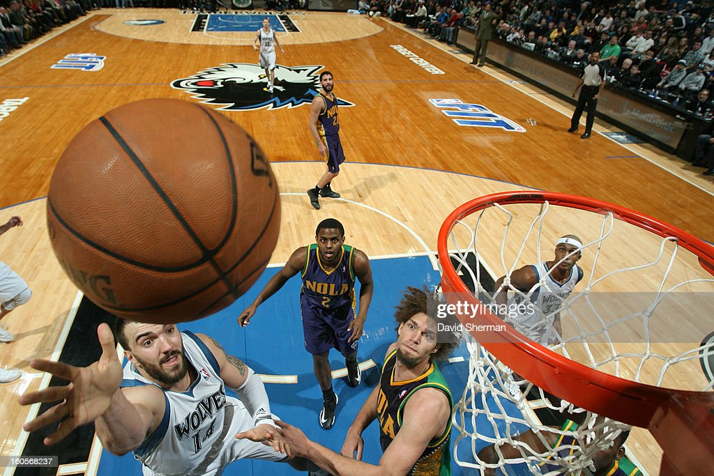 <a gi-track='captionPersonalityLinkClicked' href=/galleries/search?phrase=Nikola+Pekovic&family=editorial&specificpeople=829137 ng-click='$event.stopPropagation()'>Nikola Pekovic</a> #14 of the Minnesota Timberwolves drives to the basket against the New Orleans Hornets on February 2, 2013 at Target Center in Minneapolis, Minnesota.