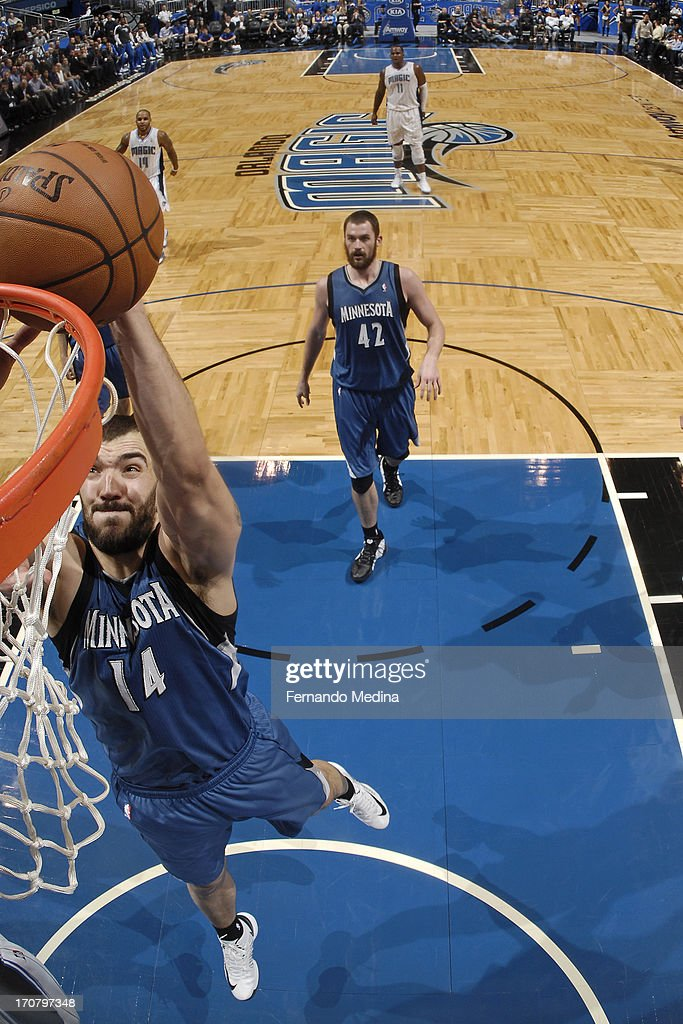 <a gi-track='captionPersonalityLinkClicked' href=/galleries/search?phrase=Nikola+Pekovic&family=editorial&specificpeople=829137 ng-click='$event.stopPropagation()'>Nikola Pekovic</a> #14 of the Minnesota Timberwolves drives to the basket against the Orlando Magic on December 17, 2012 at Amway Center in Orlando, Florida.