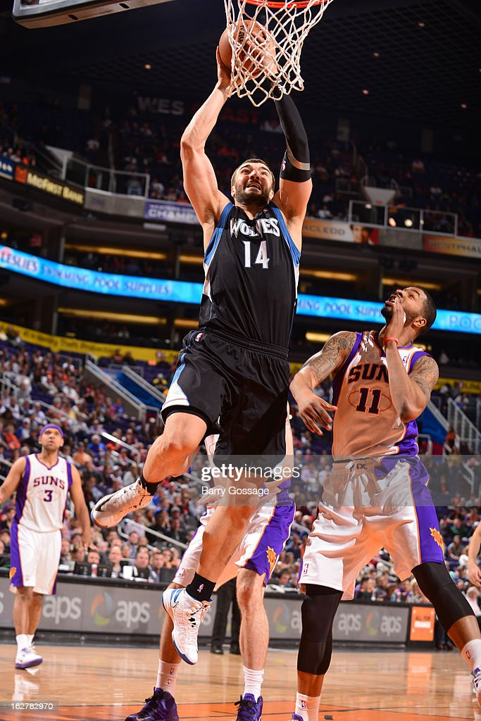 <a gi-track='captionPersonalityLinkClicked' href=/galleries/search?phrase=Nikola+Pekovic&family=editorial&specificpeople=829137 ng-click='$event.stopPropagation()'>Nikola Pekovic</a> #14 of the Minnesota Timberwolves dunks against <a gi-track='captionPersonalityLinkClicked' href=/galleries/search?phrase=Markieff+Morris&family=editorial&specificpeople=5293881 ng-click='$event.stopPropagation()'>Markieff Morris</a> #11 of the Phoenix Suns on February 26, 2013 at U.S. Airways Center in Phoenix, Arizona.