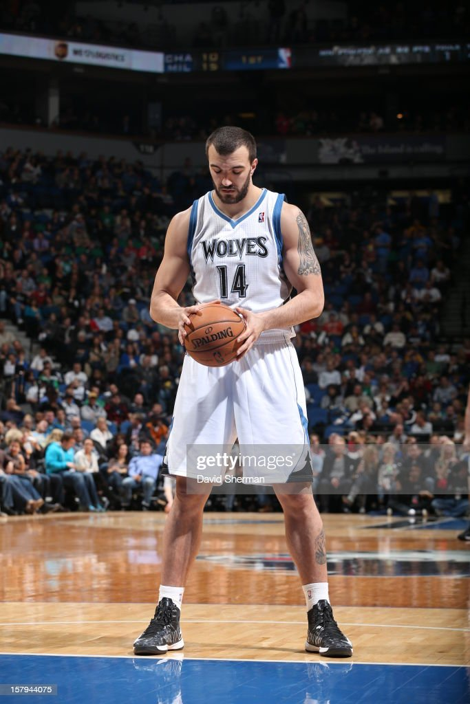 <a gi-track='captionPersonalityLinkClicked' href=/galleries/search?phrase=Nikola+Pekovic&family=editorial&specificpeople=829137 ng-click='$event.stopPropagation()'>Nikola Pekovic</a> #14 of the Minnesota Timberwolves gets ready for a foulshot against the Cleveland Cavaliers during the game on December 7, 2012 at Target Center in Minneapolis, Minnesota.