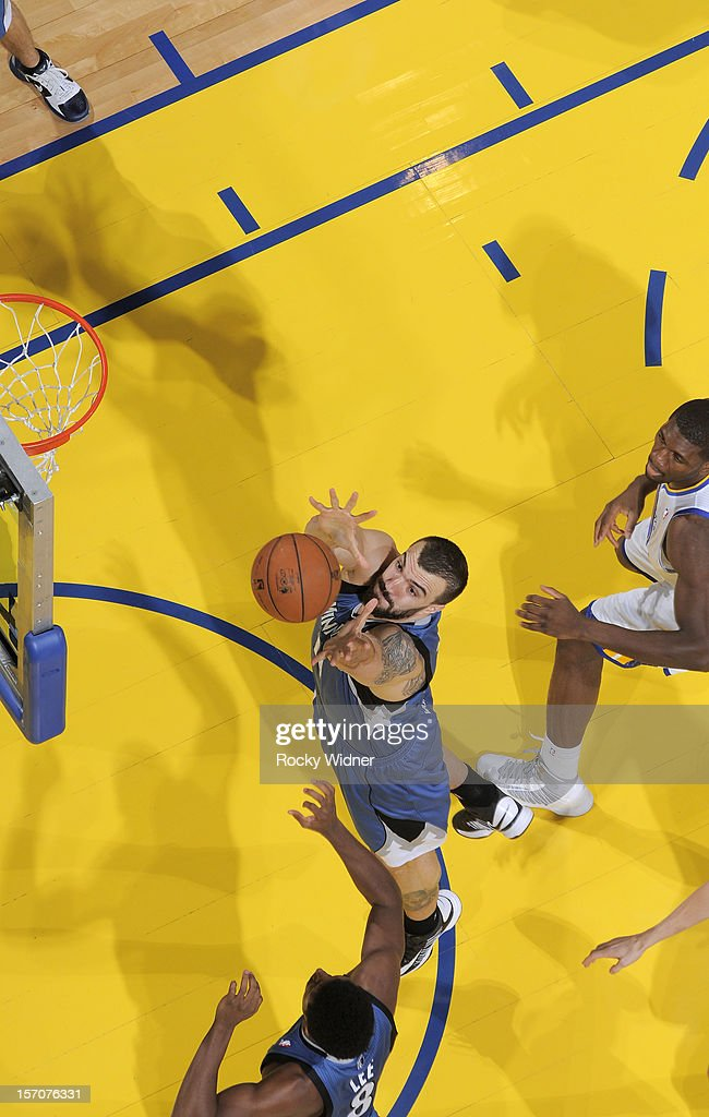 <a gi-track='captionPersonalityLinkClicked' href=/galleries/search?phrase=Nikola+Pekovic&family=editorial&specificpeople=829137 ng-click='$event.stopPropagation()'>Nikola Pekovic</a> #14 of the Minnesota Timberwolves goes after the rebound in a game against the Golden State Warriors on November 24, 2012 at Oracle Arena in Oakland, California.