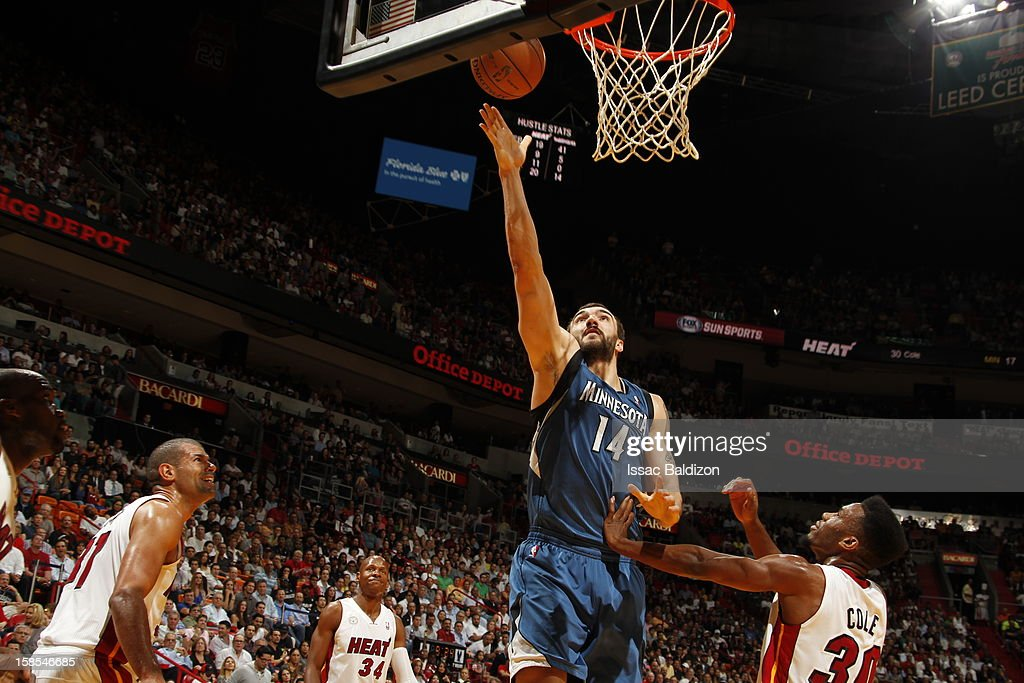 <a gi-track='captionPersonalityLinkClicked' href=/galleries/search?phrase=Nikola+Pekovic&family=editorial&specificpeople=829137 ng-click='$event.stopPropagation()'>Nikola Pekovic</a> #14 of the Minnesota Timberwolves goes to the basket during a game between the Minnesota Timberwolves and the Miami Heat on December 18, 2012 at American Airlines Arena in Miami, Florida.
