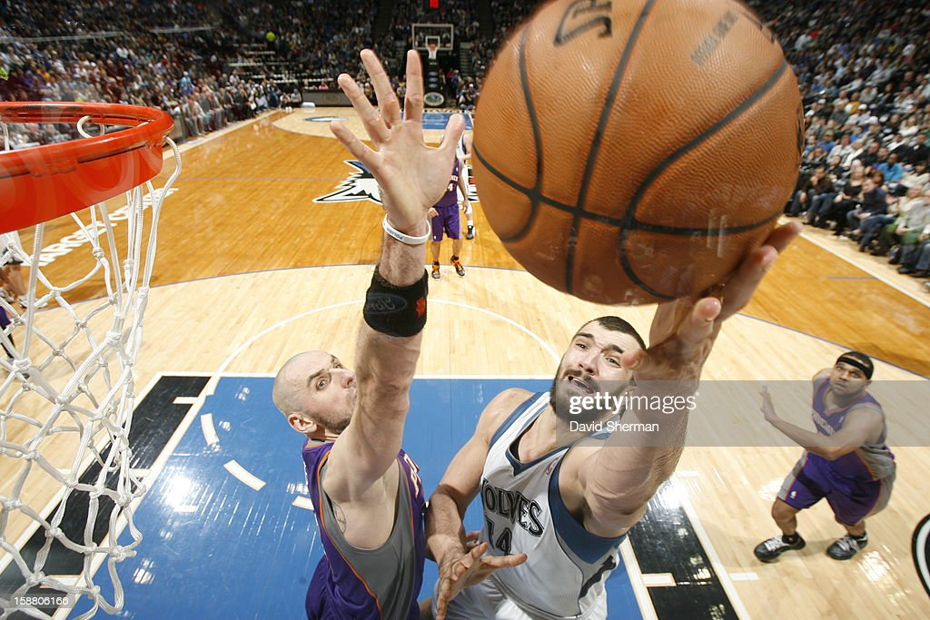 <a gi-track='captionPersonalityLinkClicked' href=/galleries/search?phrase=Nikola+Pekovic&family=editorial&specificpeople=829137 ng-click='$event.stopPropagation()'>Nikola Pekovic</a> #14 of the Minnesota Timberwolves goes to the basket against <a gi-track='captionPersonalityLinkClicked' href=/galleries/search?phrase=Marcin+Gortat&family=editorial&specificpeople=589986 ng-click='$event.stopPropagation()'>Marcin Gortat</a> #4 of the Phoenix Suns during the game between the Minnesota Timberwolves and the Phoenix Suns during the game on December 29, 2012 at Target Center in Minneapolis, Minnesota.