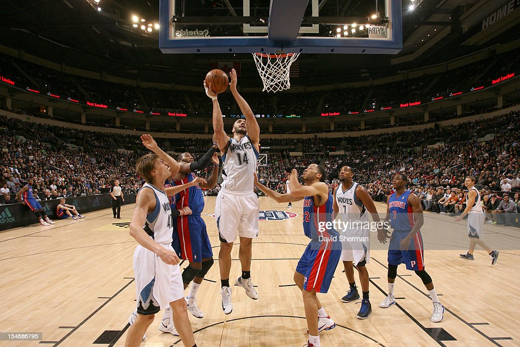 Nikola Pekovic #14 of the Minnesota Timberwolves goes to the basket during the game between the Minnesota Timberwolves and the Detroit Pistons during the NBA preseason as part of NBA Canada Series 2012 on October 24, 2012 at the MTS Centre in Winnipeg, Manitoba, Canada.