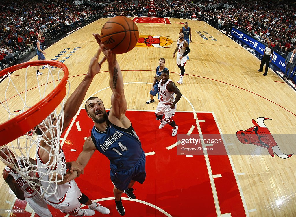 Nikola Pekovic #14 of the Minnesota Timberwolves goes to the basket during the game against the Chicago Bulls on November 10, 2012 at the United Center in Chicago, Illinois.
