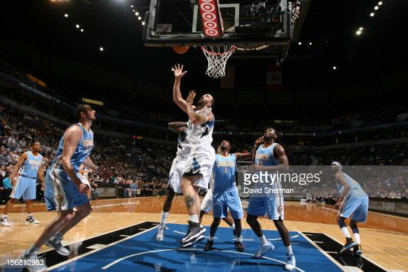 Nikola Pekovic of the Minnesota Timberwolves goes to the basket during the game between the Minnesota Timberwolves and the Denver Nuggets on November...