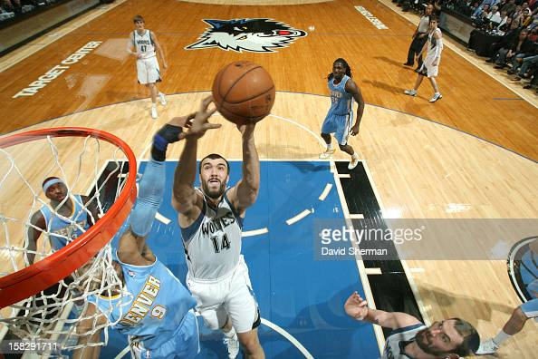 Nikola Pekovic of the Minnesota Timberwolves goes to the basket during the game between the Minnesota Timberwolves and the Denver Nuggets on December...