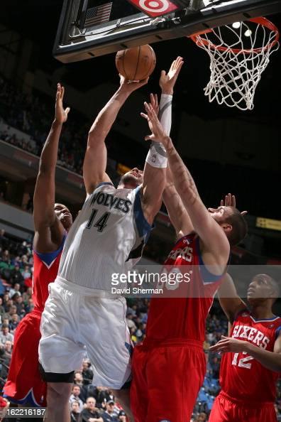 Nikola Pekovic of the Minnesota Timberwolves goes to the basket during the game between Philadelphia 76ers and the Minnesota Timberwolves on February...