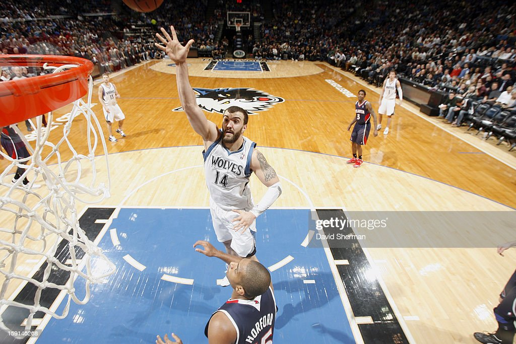 Nikola Pekovic #14 of the Minnesota Timberwolves goes up for the close shot against the Atlanta Hawks during the game on January 8, 2013 at Target Center in Minneapolis, Minnesota.