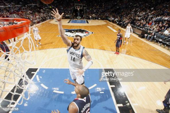 Nikola Pekovic of the Minnesota Timberwolves goes up for the close shot against the Atlanta Hawks during the game on January 8 2013 at Target Center...