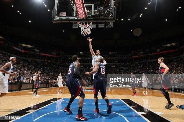 Nikola Pekovic of the Minnesota Timberwolves goes up for the shot in traffic against the Atlanta Hawks during the game on January 8 2013 at Target...