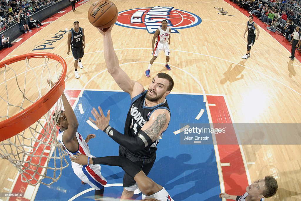 <a gi-track='captionPersonalityLinkClicked' href=/galleries/search?phrase=Nikola+Pekovic&family=editorial&specificpeople=829137 ng-click='$event.stopPropagation()'>Nikola Pekovic</a> #14 of the Minnesota Timberwolves goes up strong to the basket against the Detroit Pistons during the game on March 26, 2013 at The Palace of Auburn Hills in Auburn Hills, Michigan.