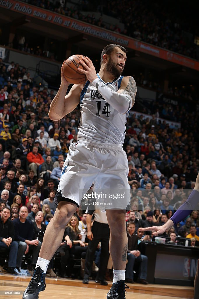 Nikola Pekovic #14 of the Minnesota Timberwolves grabs a rebound against the Los Angeles Lakers during the game on February 1, 2013 at Target Center in Minneapolis, Minnesota.