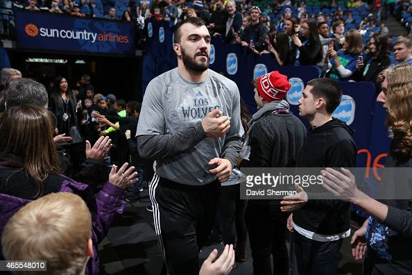 Nikola Pekovic of the Minnesota Timberwolves is introduced before the game against Portland Trail Blazers on March 7 2015 at Target Center in...