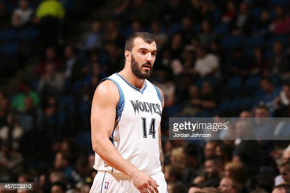 Nikola Pekovic of the Minnesota Timberwolves prepares for the play against the Philadelphia 76ers during the game on October 10 2014 at Target...