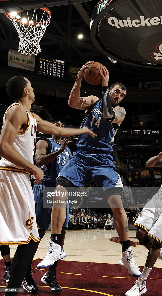 Nikola Pekovic #14 of the Minnesota Timberwolves pulls down the rebound against Shaun Livingston #14 of the Cleveland Cavaliers at The Quicken Loans Arena on February 11, 2013 in Cleveland, Ohio.