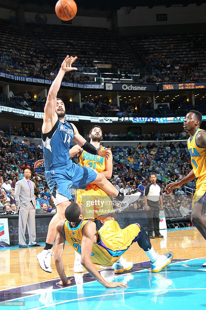 Nikola Pekovic #14 of the Minnesota Timberwolves puts up a shot against the New Orleans Hornets on January 11, 2013 at the New Orleans Arena in New Orleans, Louisiana.