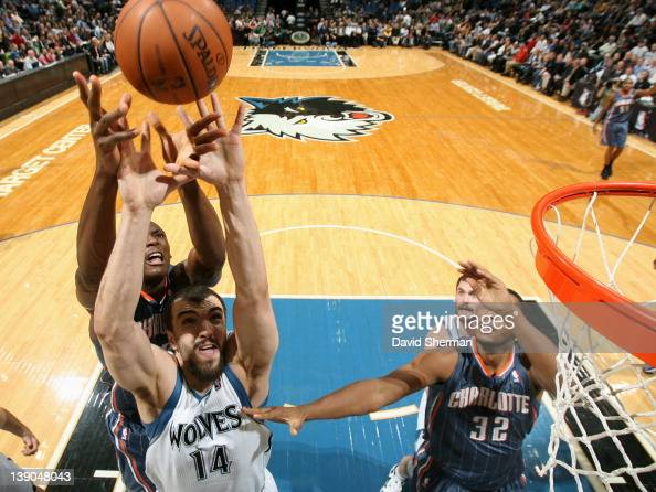 Nikola Pekovic of the Minnesota Timberwolves reaches for the ball during the game against the Charlotte Bobcats on February 15 2012 at Target Center...