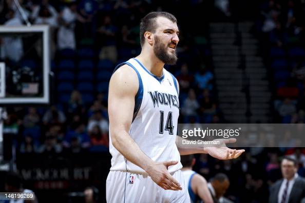 Nikola Pekovic of the Minnesota Timberwolves reacts during a game against the Memphis Grizzlies on April 17 2012 at Target Center in Minneapolis...